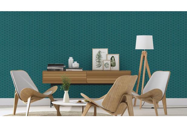 Rasch Tapete Modern Art 621020 Silber, Grün 0.53 x 10.05 m