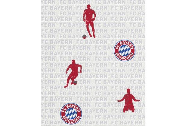 Rasch Vliestapete, FC Bayern München, Muster, weiß, rot