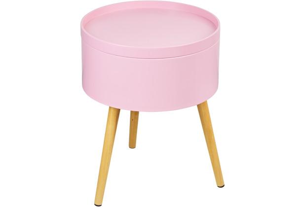 Reality Import Beistelltisch Jeff rosa lackiert Gestell Massivholz mit Tablett