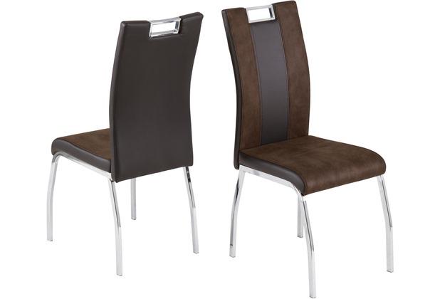 Reality Import Stuhl Bari 2 Lederlook/Softtex dunkelbraun