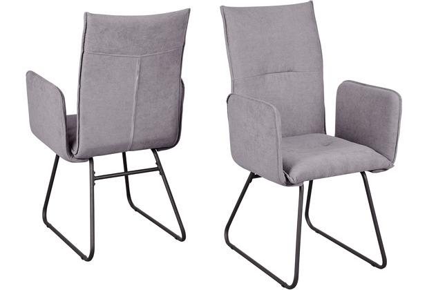 Reality Import Stuhl Arona AL Webstoff grau Gestell schwarz legere Polsterung / mit Armlehnen