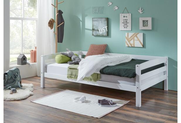 relita Einzelbett Nora in Buche massiv, weiß lackiert, Liegefläche 90x200 cm, ohne Lattenrost