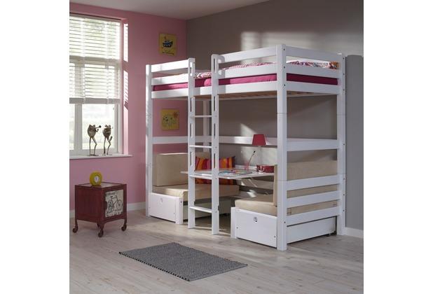 relita Etagenbett FINLEY 90x200 weiß lackiert+ Kissen  beige weiß