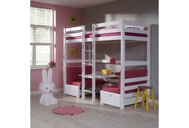 relita Etagenbett FINLEY 90x200 weiß lackiert+ Kissen  pink weiß
