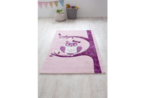 relita Kinderteppich 170x120 rosa mit Eule