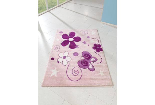 relita Kinderteppich 170x120 rosa mit Schmetterling