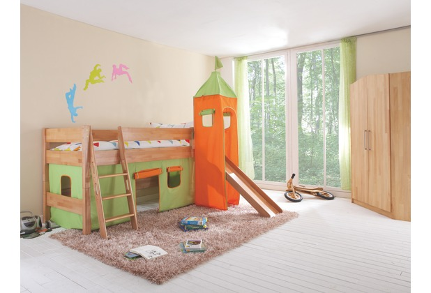 relita Stoffset mit Turm für Betten mit Rutsche grün/orange