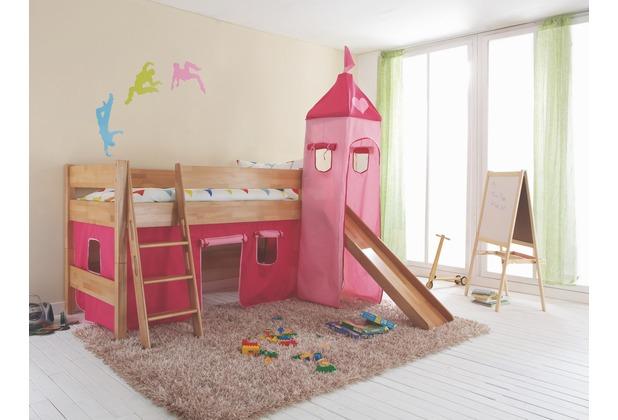 relita Stoffset mit Turm für Betten mit Rutsche Pink-Herz