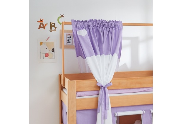 relita Zeltstoffset für Spielbett LEO purple/weiß-Herz