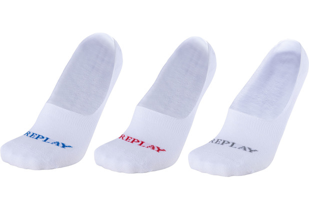 REPLAY INVISIBLE Basic Foot Logo 3 Paar Card wrap white/logo ass colours 35/38