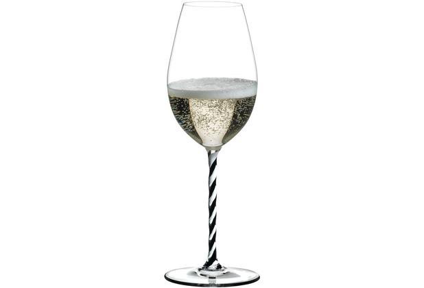 Riedel Fatto A Mano schwarz/weiß gedrehtes Champagne Wein Glas