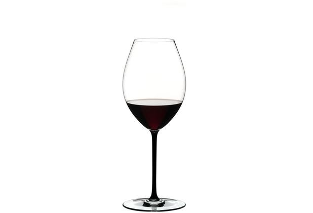 Riedel Fatto A Mano Old World Syrah Glas mit schwarzem Stiel