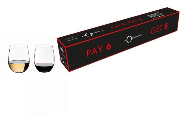 """Riedel \""""O\"""" Wein Tumbler, \""""O\"""" Cabernet + \""""O\"""" Viognier/Chardonnay Gläser 8 zum Preis von 6"""