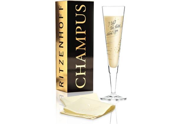 Ritzenhoff Champagnerglas von Natalia Yablunovska Illustration, Schrift 200 ml