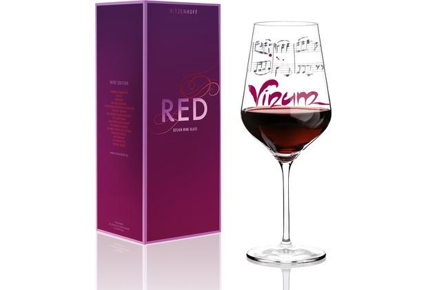 Ritzenhoff Rotweinglas von Annett Wurm Schrift, Musik 580 ml
