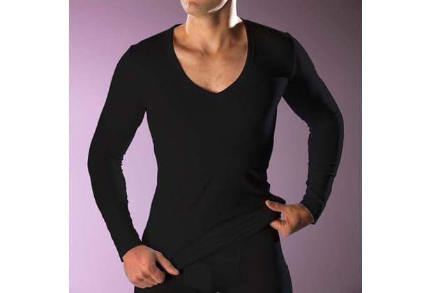 RJ Bodywear RJ men\'s Stretch Cotton tiefem V-Ausschnitt T-Shirt Langarm, schwarz L