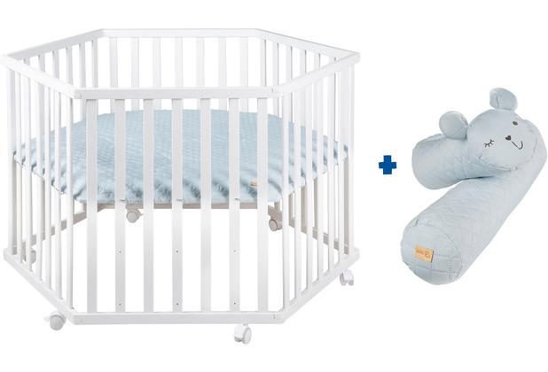 Roba Bundle \'roba Style\' inkl. 6-eckigem Laufgitter weiß und blauer Mikrofaser-Bettschlange geprüft