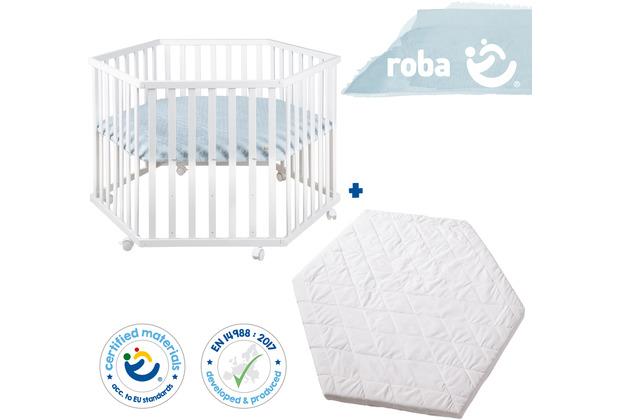 Roba Bundle \'roba Style\' inkl. 6-eckigem Laufgitter weiß und Laufgittermatratze, schadstoffgeprüft blau