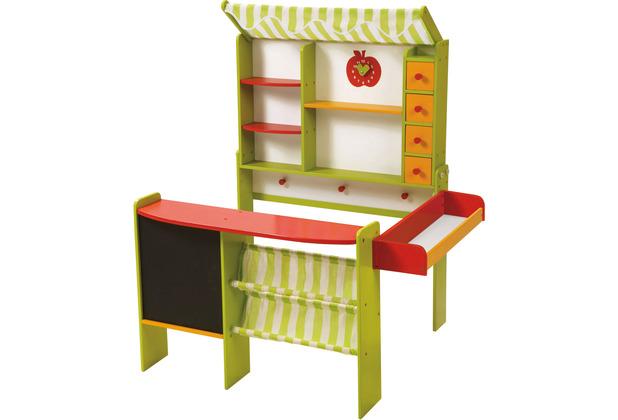 Roba Kaufladen \'Marktstand\', grün/rot, mit Theke, Tafel, Seitentheke, Markise, Kasse & Zubehör