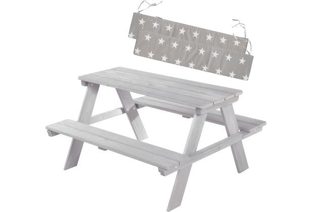 Roba Kinder Outdoor+ Sitzgruppe \'Picknick for 4\' mit Sitzkissen, wetterfest aus Massivholz, grau