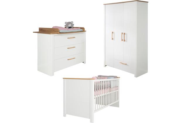 Roba Kinderzimmerset Ava, inkl. Kinderbett 70x140 cm, Wickelkommode & Schrank 3-türig