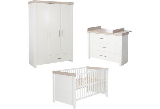Roba Kinderzimmerset Lucy, inkl. Kombi-Kinderbett 70 x 140, Wickelkommode & Schrank 3-türig