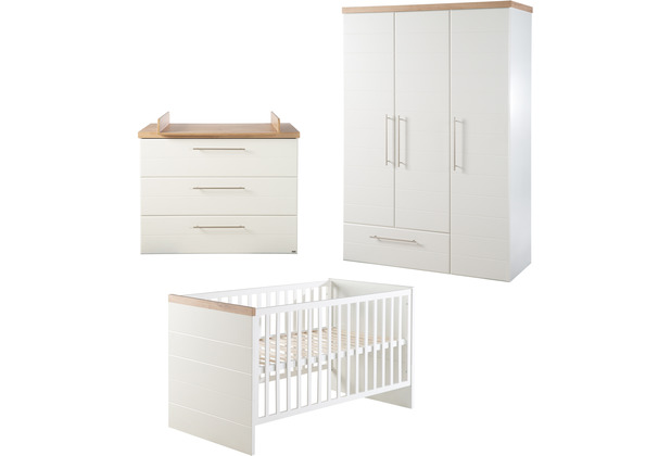 Roba Kinderzimmerset Nele, inkl. Kombi-Kinderbett 70 x 140 cm, Wickelkommode & Schrank 3-türig