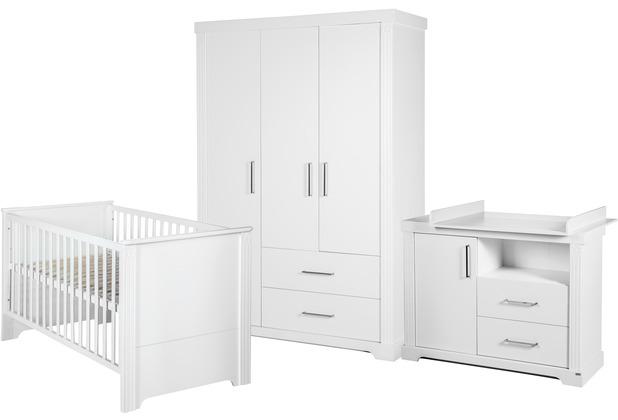 Roba Möbelset \'Maxi', inkl. Kombi-Bett 70 x 140 cm, Wickelkommode und 3-türigem Kleiderschrank, weiß