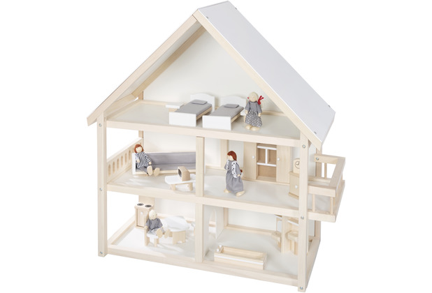 Roba Puppenhaus, Puppenvilla inkl. Möbel und Puppen, Mädchen Spielzeug, Holz natur