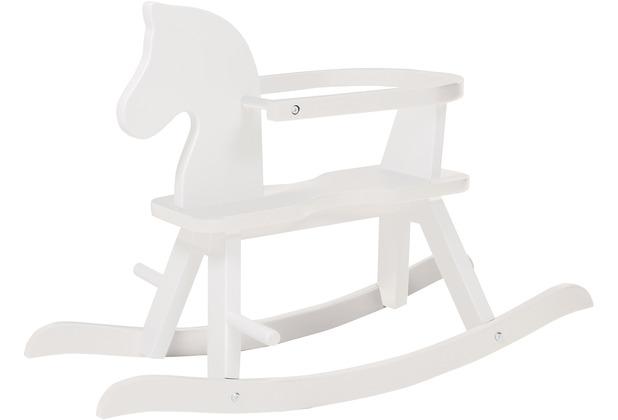 Roba Schaukelpferd, Schaukeltier Massivholz weiß lackiert, mitwachsend durch abnehmbaren Schutzring