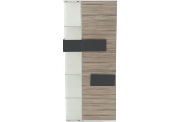 Röhr Vitrine Driftwood 75x180x37 cm Glas links Applikation Anthrazit