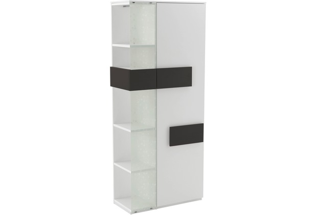 Röhr Vitrine Weiß 75x180x37 cm Glas links Applikation Anthrazit