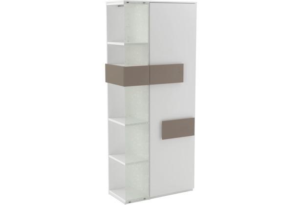 Röhr Vitrine Weiß 75x180x37 cm Glas links Applikation Cubanit