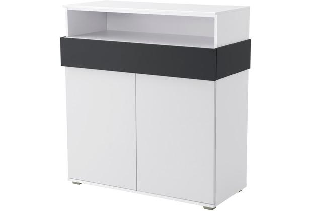 Röhr Regal Sideboard 102x110x46 cm Weiß Applikation Anthrazit