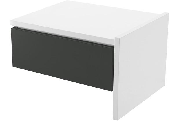 Röhr Anbau-Nachttisch Weiß mit Schubkasten Applikation Anthrazit