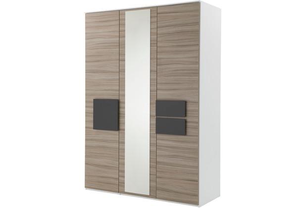 Röhr Kleiderschrank 3trg Driftwood mit Spiegel Applikation Anthrazit