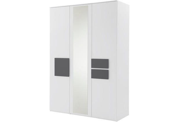 Röhr Kleiderschrank 3trg Weiß mit Spiegel Applikation Anthrazit