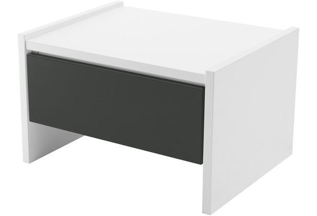 Röhr Nachttisch Weiß mit Schubkasten Applikation Anthrazit