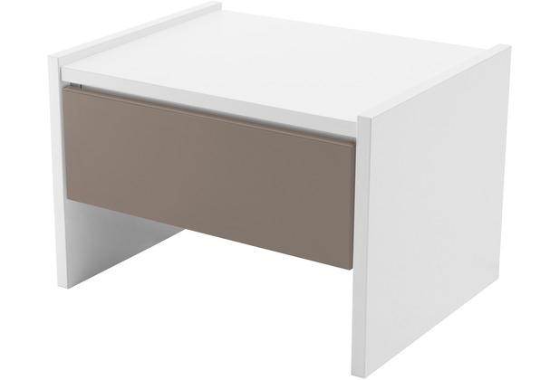 Röhr Nachttisch Weiß mit Schubkasten Applikation Cubanit
