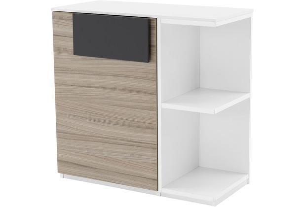 Röhr Schrank mit Regal Driftwood/Weiß 76x74x37 cm Tür links Applikation Anthrazit