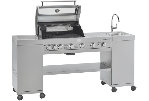 RÖSLE BBQ-Kitchen Videro G4-SK Gasgrill Edelstahl 50 mbar Grillwagen