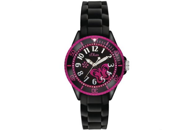 s.Oliver Armbanduhr MIT GRAVUR (z.B. Namen) für Mädchen SO-2993-PQ schwarz/pink Uhr Mädchenuhr