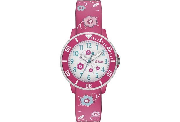 s.Oliver Armbanduhr SO-2990-PQ Uhr für Mädchen pink/rosa mit Blümchen