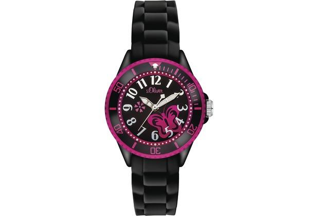 s.Oliver Armbanduhr für Mädchen SO-2993-PQ schwarz/pink Uhr Mädchenuhr
