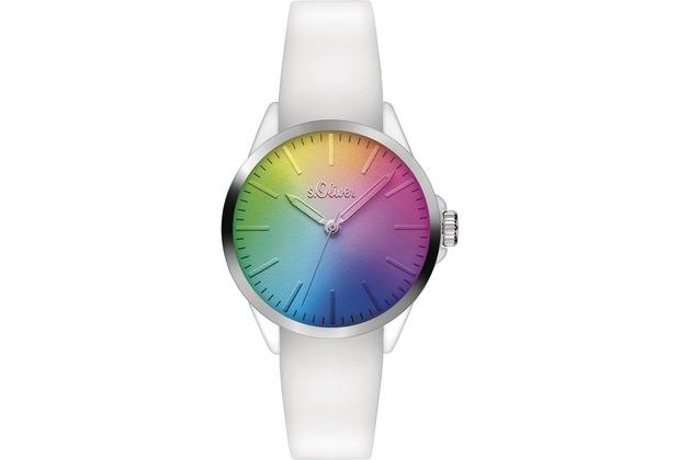 s.Oliver Damenuhr SO-3199-PQ weiß Uhr Damen Armbanduhr