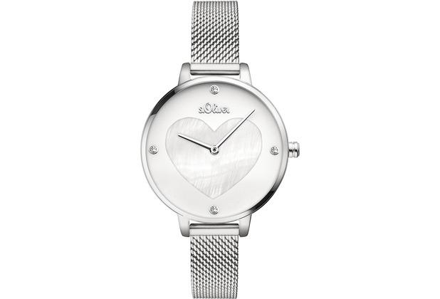 s.Oliver Damen-Armbanduhr SO-3472-MQ Silber für Frauen mit Herz