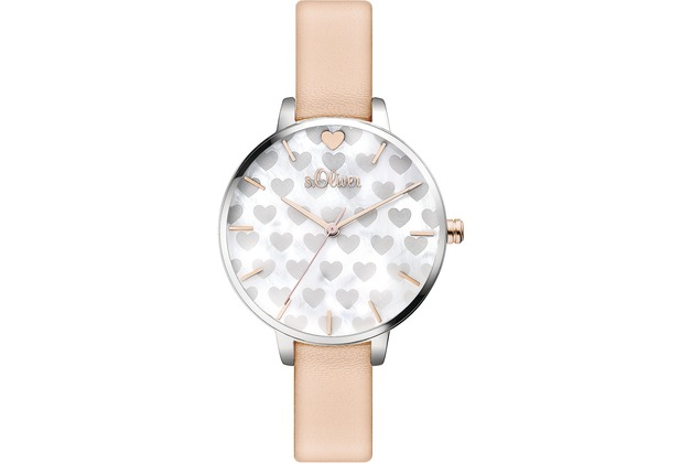 s.Oliver Damen-Armbanduhr SO-3474-LQ Rosa Armband für Frauen mit Herzchen