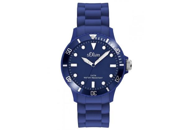 s.Oliver Armbanduhr SO-2577-PQ blau unisex Herrenuhr Damenuhr mit Silikonarmband