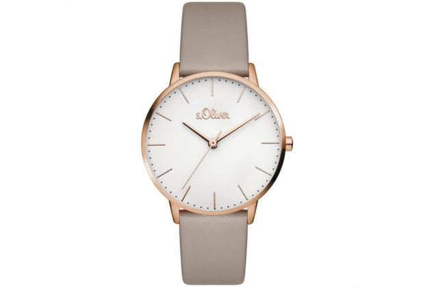 s.Oliver Damen-Armbanduhr MIT GRAVUR (z.B. Namen) SO-3441-LQ Taupe für Frauen