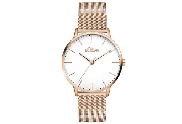s.Oliver Damen-Armbanduhr MIT GRAVUR (z.B. Namen) SO-3446-MQ für Frauen Farbe: Roségold